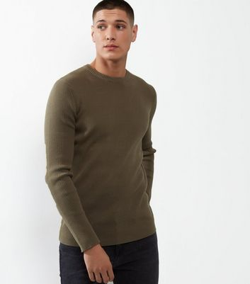 Brown Cotton Ribbed Jumper
