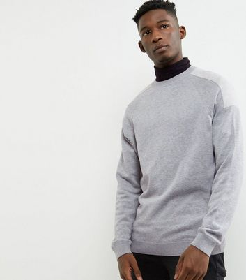 Grey Shoulder Patch Crew Neck Jumper