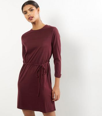 Burgundy Seam Trim Tie Waist Tunic Dress