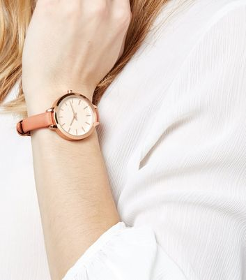 Coral Skinny Strap Watch