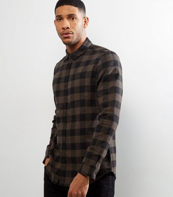 Dark Grey Check Long Sleeve Shirt