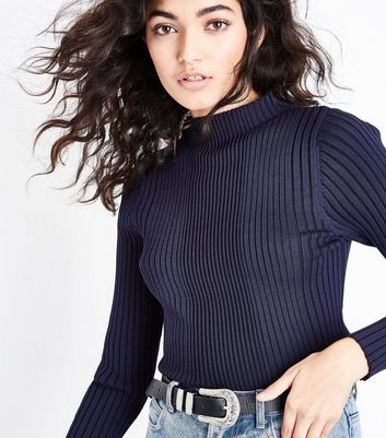 Navy High Neck Ribbed Jumper