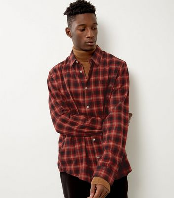 Red Brushed Check Single Pocket Long Sleeve Shirt