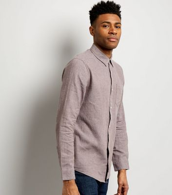 Dark Grey Linen Mix Long Sleeve Shirt