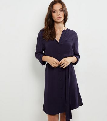 Navy Long Sleeve Belted Shirt Dress