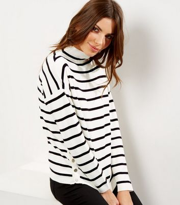 Whtie Stripe Popper Side Funnel Neck Jumper