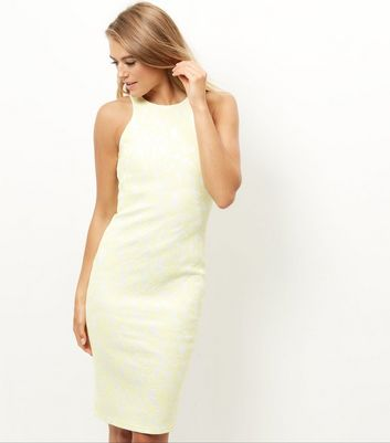 AX Paris Yellow Lace Midi Dress