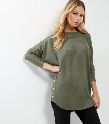 Khaki Batwing Sleeve Stud Side Top
