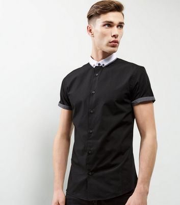 Black Button Collar Short Sleeve Shirt