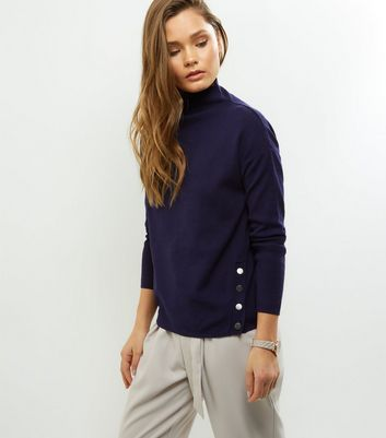 Navy Popper Trim Funnel Neck Jumper