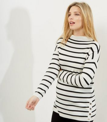 Maternity White Stripe Popper Side Funnel Neck Jumper
