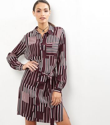Burgundy Contrast Stripe Tie Waist Shirt Dress