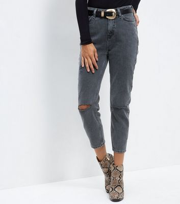 Black Washed Ripped Knee Mom Jeans