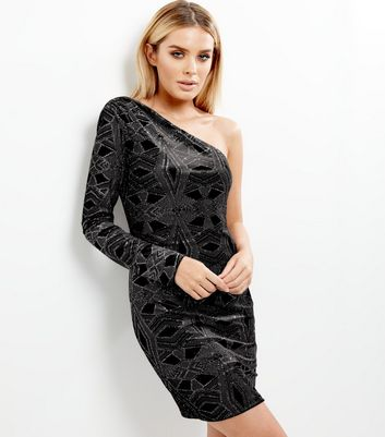 Black Velvet Glitter Off The Shoulder Bodycon Dress