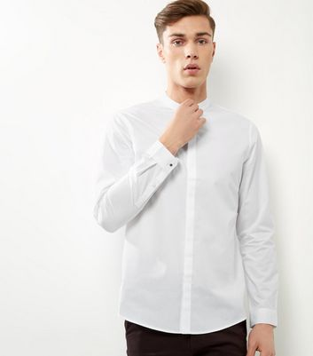 White Grandad Collar Long Sleeve Shirt