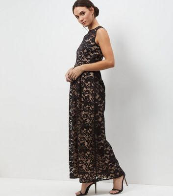 Mela Black Floral Lace Embroidered Overlay Maxi Dress