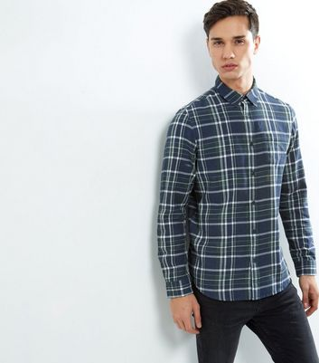 Navy Check Cotton Long Sleeve Shirt