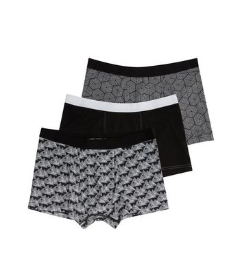 3 Pack Black Geo Print Trunks