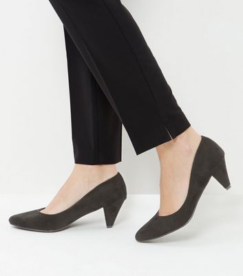 Black Suedette Pointed Mid Heels