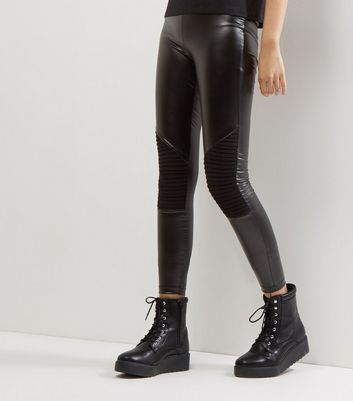 JDY – Schwarze Biker-Leggings in Leder-Optik mit Kniepolster-Design