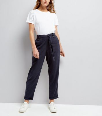 Navy Linen Slim Leg Trousers