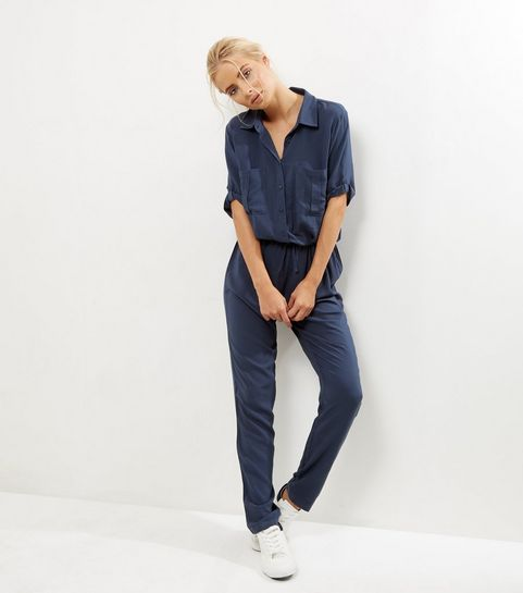 JDY Navy 1/2 Sleeve Shirt Jumpsuit