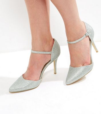 Silver Glitter Pointed Ankle Strap Heels