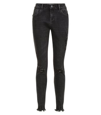 Teens Black Ripped Fray Hem Skinny Jeans