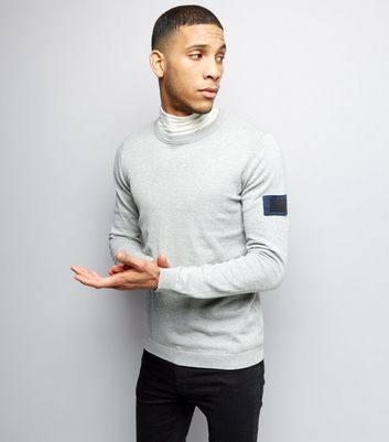 Jack & Jones Grey Sleeve Patch Knitted Jumper