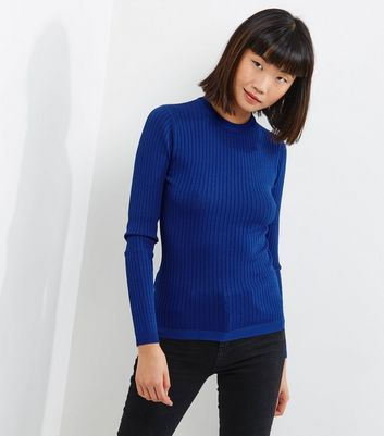 Blue Ribbed Crew Neck Long Sleeve Jumper