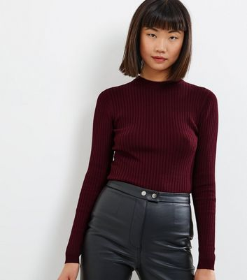Burgundy Ribbed Crew Neck Long Sleeve Jumper