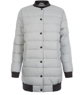 Teens Pale Grey Longline Puffer Jacket