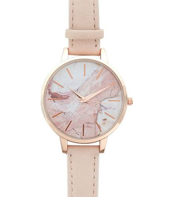 Pink Marble Dial Watch