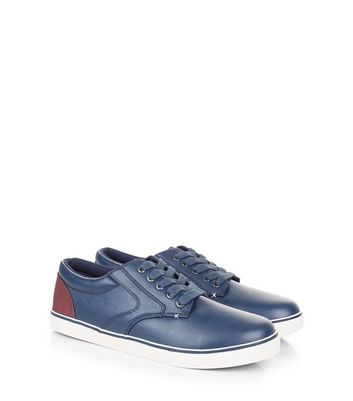 Navy Contrast Panel Lace-Up Trainers