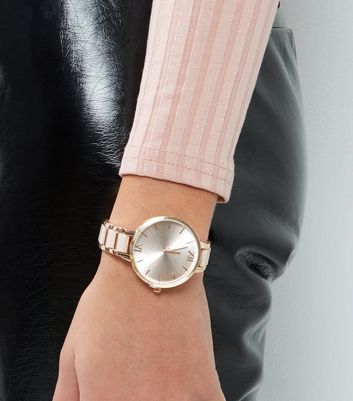 Rose Gold Link Chain Sports Watch