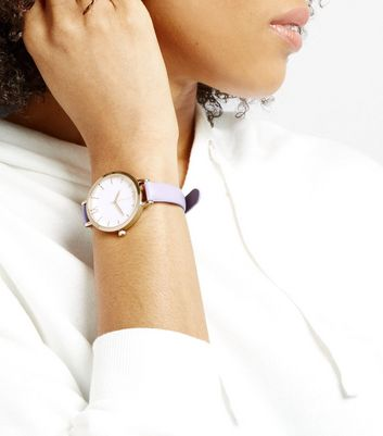 Lilac Metallic Face Watch