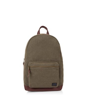 Khaki Leather-Look Panel Backpack