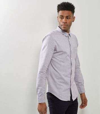 Pale Grey Brushed Cotton Long Sleeve Shirt