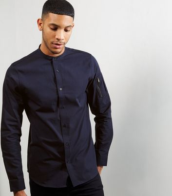 Navy Grandad Collar Zip Sleeve Shirt