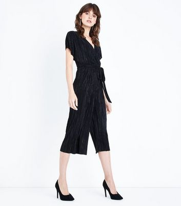 Black Pleated Wrap Front Culotte Jumpsuit