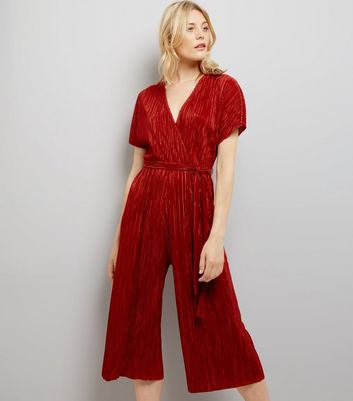 Brown Pleated Wrap Front Culotte Jumpsuit