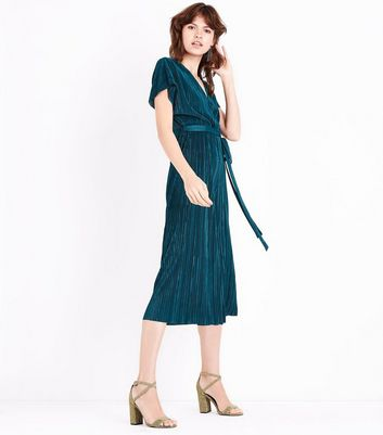 Dark Green Pleated Wrap Front Culotte Jumpsuit