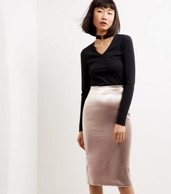 Mink Sateen Midi Skirt
