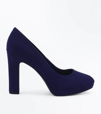 Wide Fit Navy Suedette Platform Court Shoes