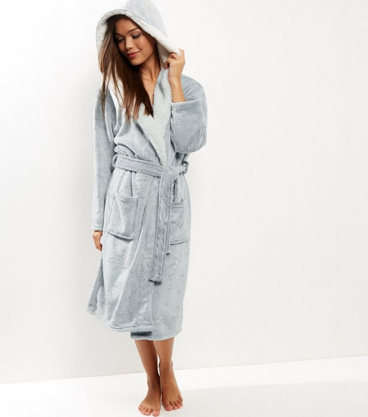 Grey Burnout Star Borg Lined Dressing Gown | New Look