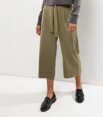 Khaki Tie Waist Wide Leg Cropped Trousers