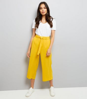 Yellow Tie Waist Cropped Trousers