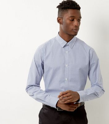 Pale Blue Check Print Long Sleeve Shirt
