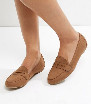 Tan Suedette Loafers
