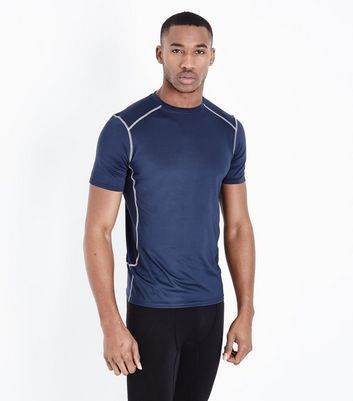 Navy Stretch Short Sleeve Sports T-Shirt